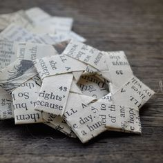 Vintage paper folded stars Text. Use as a gift decoration or ornament by ShePinTea via Etsy