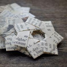 Vintage Papier gefaltet Sternen Text. von ShePinTea auf Etsy