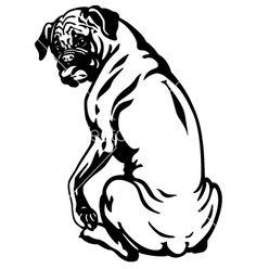 Boxer dog black white vector art - Download Single vectors - 1757688