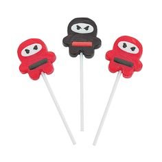 Ninja Character Suckers | Need some quick ninja party favors? Slip these stealthy (and tasty) suckers into ninja party treat bags. Hiyaaa! #ninja #party #favors