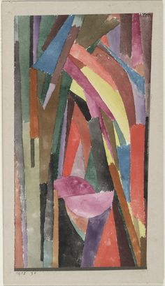 From Centre Pompidou, Paul Klee, (Drôle?) [Gothique joyeux] Watercolour and pastel on paper, metallic paper borders on card, × cm Wassily Kandinsky, Paul Klee Art, August Macke, Franz Marc, Borders For Paper, Metallic Paper, Museum Of Modern Art, Art Plastique, Artwork
