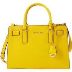 Michael Michael Kors Top Zip Ew Satchel ($298) ❤ liked on Polyvore featuring bags, handbags, yellow, shoulder strap purses, handbag satchel, michael michael kors, yellow handbag and yellow purse