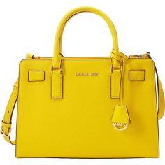 Michael Michael Kors Top Zip Ew Satchel ($298) ❤ liked on Polyvore featuring bags, handbags, yellow, shoulder strap purses, handbag satchel, michael michael kors, yellow handbag and yellow purse