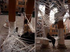 Parasite Trip    A stretched polyethylene web in Venice's San Francesco della Vigna church