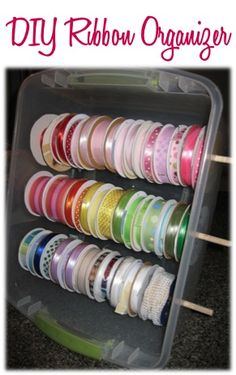 DIY Ribbon Organizer - at TheFrugalGirls.com
