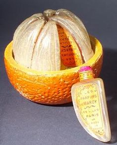Perfume Bottles (8); for Parfums de Marcy, L'Orange, Segments, Ceramic Orange-Form Box, 3 inch.