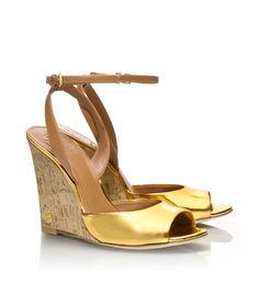 Tory Burch Metallic Ashton Wedge Sandal in Gold (gold/royal tan) | Lyst