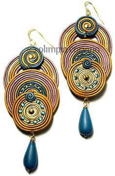 Faux soutache,Soutache is a skinny flat decorative braid that is usually used as drapery trim or on military uniforms but lately it's been showing up in jewelry. Polymer faux soutache turns up on the FaceBook page of Italy's Olimpia Corvino in some interesting shapes.   Fans of polymer extruding will love trying this new twist. The link was sent in by Ronna Weltman.