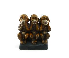 Three monkeys antique cast iron bank  see no by reconstitutions, $148.50