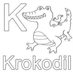 Buchstaben lernen: Kostenlose Malvorlage: K wie Krokodil zum Ausmalen