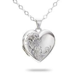 Sterling Silver Heart Locket with Chain ($99) ❤ liked on Polyvore
