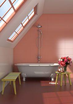 Cómo elegir el revestimiento del baño | Cultura decó NAÏF: Naïf Coral  25X75cm  #tile #baño #bathroom #coral #bañera