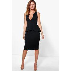 Boohoo Night Harlie V Neck Peplum Midi Dress ($35) ❤ liked on Polyvore featuring dresses, black, midi cocktail dress, sequined dresses, sequin bodycon dress, bodycon party dresses and bodycon midi dress