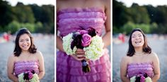wedding bouquet hot pink roses and purple calla lilies