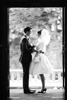 This bride made her own 1960s style wedding dress based on an original 1960s wedding dress pattern.  Short pouffy 1960s style wedding veil.  Photography http://www.grahammorgan.com/  Vintage bride, 60s wedding, 1960s wedding, vintage inspired wedding