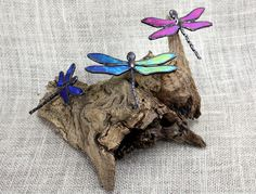 Iridescent Dragonfly Trio Stained Glass Sculpture by BerlinGlass