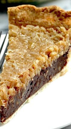 Chocolate Coconut Pecan Pie Recipe I will never make this but I sure would like to eat it Ummm guess Im a character in the story of The Little Red Henand Im not the hen Pie Recipes, Sweet Recipes, Dessert Recipes, Cooking Recipes, Recipies, Vegemite Recipes, Family Recipes, Cooking Ideas, Just Desserts