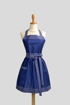Womens Bib Full Apron - Handmade Hostess Womens Apron Nautical Navy Blue with White Lattice Kitchen Apron. $40.00, via Etsy.