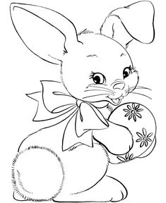 Easter Bunny Coloring Pages | BlueBonkers - cute easter bunny with an easter egg and a bow coloring page activity sheets