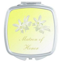 Yellow Floral Wedding Matron of Honor Compact Mirror