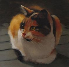 """Daily Paintworks - """"Neighbor Cat, painting of a calico cat"""" - Original Fine Art for Sale - © Diane Hoeptner"""