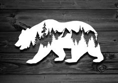 Bear Vinyl Decal, Car Decal, Mountain Decal, Mountain Sticker, Nature Decal, Adventure Decal, Animal Decal, Decals For Yeti, Tree Decal by StrangeMotion4x4 on Etsy https://www.etsy.com/listing/592552361/bear-vinyl-decal-car-decal-mountain