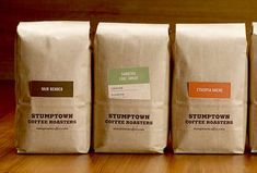 Stumptown coffee-- What is interesting about this packaging is the brown bag is the same with brand and they have put a pocket in the front to slip a paper about the particular kind of coffee.  Ingenious yet so simple!!