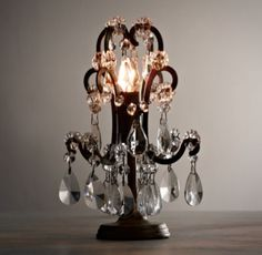 RH Baby & Child's Mini Manor Court Crystal Lamp - Aged Gold:Brilliantly sized for use as a nightlight, our tiny Manor Court table lamp's scrolling arms are draped with strands of glass beads and faceted crystals in a mix of shapes and sizes set on a petite metal base.