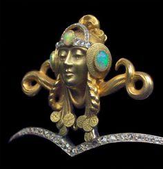 SUPERB ART NOUVEAU DIADEM Mucha style Byzantine Princess  Gold Opal Diamond. French c.1900