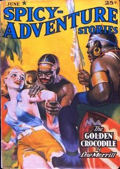 Spicy Adventure Stories 33 pulp cover art girl woman dame prisoner hostage captive grab grasp spear tribal foreign exotic danger