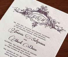 delicate font for emiria letterpress wedding invitation by invitations by ajalon