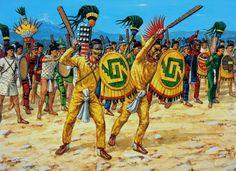 "Elite Aztec cuachiqueh forming a battleline of intimitation Osprey Military Warrior series 32 ""Aztec Warrior AD1325-1521"" by John Pohl. Illustrator Adam Hook,"