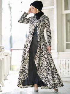 Suit with Evening Dress - Black - Dersaadet Muslim Evening Dresses, Hijab Evening Dress, Muslim Dress, Black Evening Dresses, Batik Fashion, Abaya Fashion, Fashion Dresses, Dress Outfits, Islamic Fashion