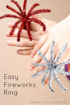 Easy Fireworks Ring Craft for Kids.great for Fourth of July parades and party favors Grab some pipe cleaners and make these easy fireworks rings for New Year's Eve, the Fourth of July, or any other patriotic holidays. New Year's Eve Crafts, Holiday Crafts, Holiday Fun, Jolly Holiday, Holiday Parties, 4th Of July Party, July 4th, Fourth Of July Crafts For Kids, Fouth Of July Crafts