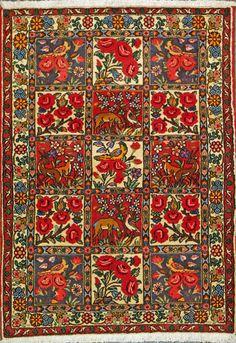 """Bakhtiari Persian Rug, Buy Handmade Bakhtiari Persian Rug 3' 7"""" x 5' 1"""", Authentic Persian Rug"""