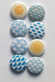 Clouds and Sun by aflairforbuttons on Etsy Rock Painting Designs, Pebble Painting, Handmade Items, Handmade Gifts, Custom Buttons, Pin Badges, Creative Crafts, Painted Rocks, Blue Yellow