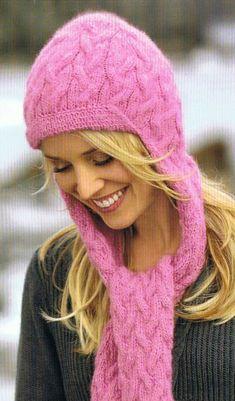 Вязание шапки целиком с шарфом