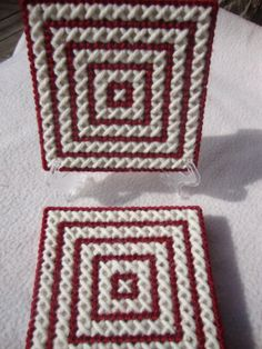 Crimson and Cream X'sSet of 4 Coasters by MastersCreations on Etsy, $15.00