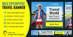 GWD | Tour & Travel HTML5 Banners - 07 Sizes . Google Fonts used-Roboto