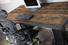 Vintage Industrial Desk, I beam, (electric sit/stand available!)  Reclaimed wood, Steel!  Lee Cowen.  www.Combine9.com