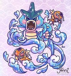 Gyarados + magikarps in waves 💙🌊🐟 (Cough cough)...drew this coz @ironpinky made me try drawing gyarados by memory and I suck....sooo bad lol 😫🤣😭 . . . #gyarados #magikarp #pokemon #japanesewaves #tattooart #jennillustrations