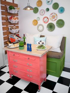 I've never thought of using a dresser as a small table!  But you can use it for eating and storage!