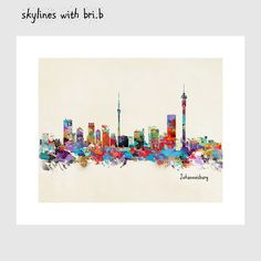 colorful pop art by oxleystudio on Etsy Kids Decor, Invitations, Invite, South Africa, Pop Art, City Skylines, Colorful, World, Gallery