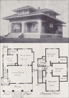 Old Vintage Bungalow House plan Early 1900s How to Build Plans