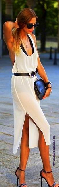 sheer plunging neck slit dress in the city.