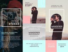 Wanderer Photography Brochure Bi Fold Brochure, Brochure Design, Brochure Template, Photography Brochure, Commercial Printing, Design Templates, Brochures, Layout Design, Wander