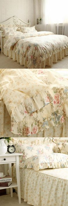Cheap linen bedspreads, Buy Quality bedding set directly from China elegant bed sheets Suppliers: New Pastoral bedding set queen size rose print ruffle duvet cover elegant bed sheet skirt princess bedding bed linen bedspread Cheap Bedding Sets, Queen Bedding Sets, Bed Linen, Linen Bedding, Ruffle Duvet, Bedspread, Queen Size, Home Textile, Bed Sheets
