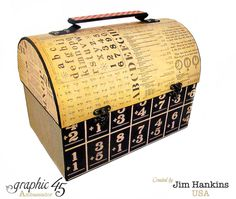 An ABC Primer vintage lunch pail created entirely by Jim, the Gentleman Crafter - incredible! #graphic45