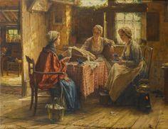 Le travail de la dentelle. Huile sur toile de Edward Antoon PORTIELJE (belge 1861 - 1949)