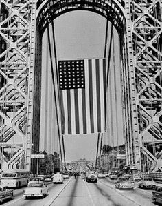 GWB with the largest American Flag anywhere, hanging over it